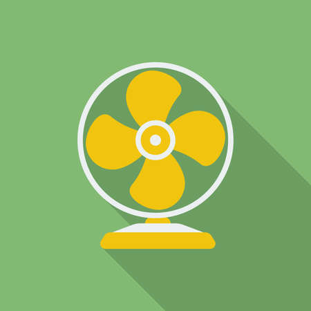 on air sign: Fan or ventilator icon. Modern Flat style with a long shadow