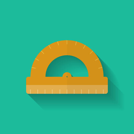 protractor: Protractor icon. Flat style. Illustration
