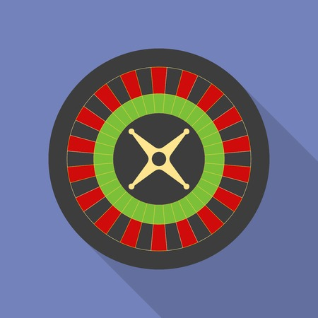 game wheel: Roulette icon. Modern Flat style with a long shadow