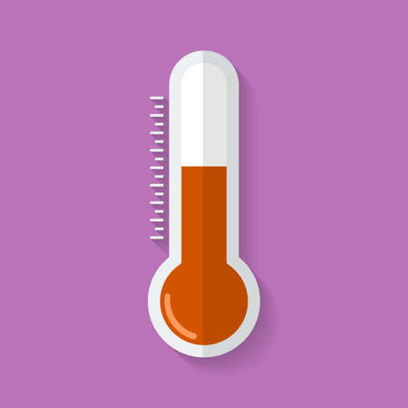 glass thermometer: Thermometer icon. Flat style