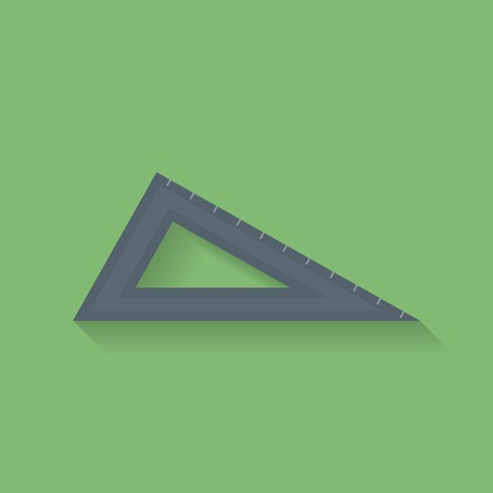 millimeters: Icon of triangle ruler. Flat style Illustration