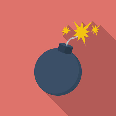 Icon of Bomb with sparkles. Flat style Illustration