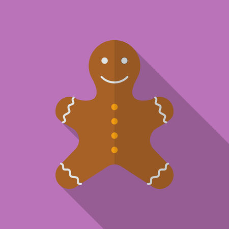 gingerbreadman: Icon of Christmas Gingerbread. Flat style Illustration