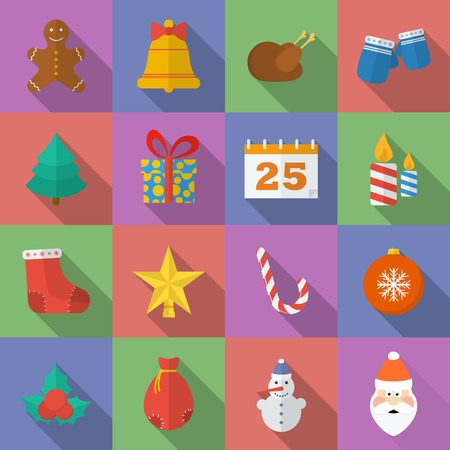 Set of Christmas icons. Flat style Vector