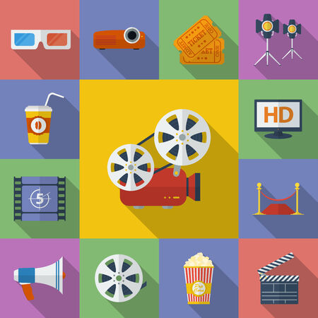 film projector: Set of Cinema, Movie icons. Flat style