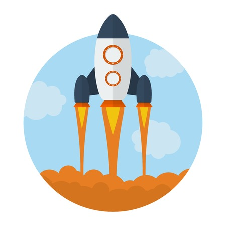 Icon of Flying Rocket. Start Up symbol. Flat style Vector