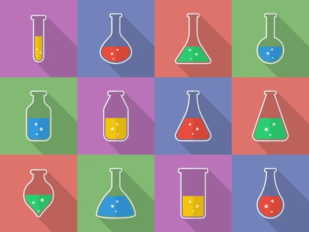 Chemical, biological science laboratory equipment - test tubes and flasks icons Vector