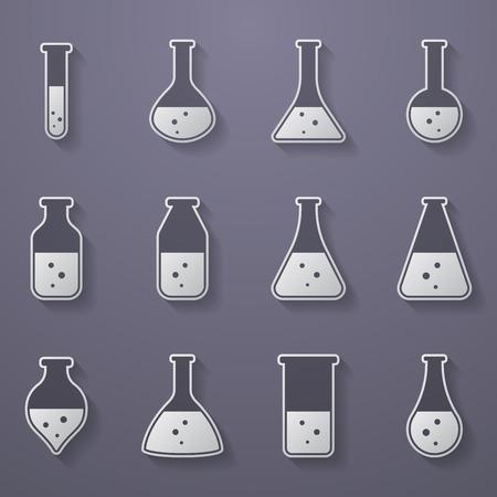 laboratory equipment: Chemical, biological science laboratory equipment - test tubes and flasks icons Illustration