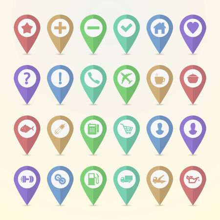 Set of map pointer icons Vector