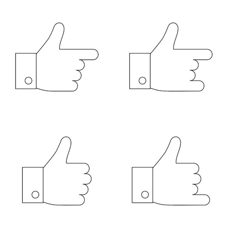 thumbs up icon: Thumbs up icon set. Thin line. Illustration