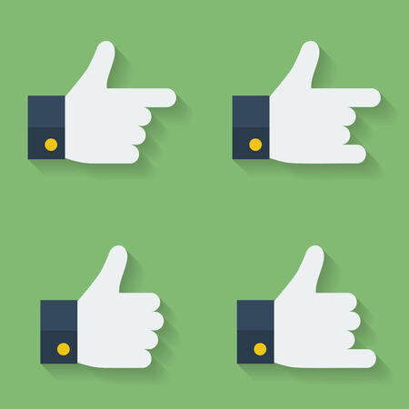 thumbs up icon: Thumbs up icon set. Flat style