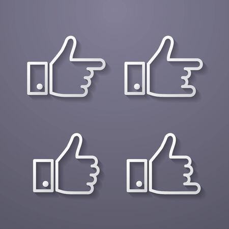 thumbs up icon: Pulgares arriba Icon Set. Estilo Flat