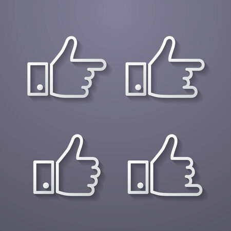 Thumbs up icon set. Flat style Vector