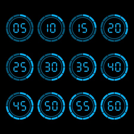 Digital countdown timer with five minutes interval.