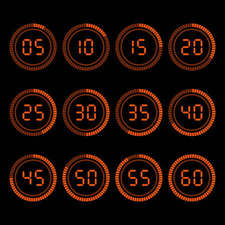 minutes: Digital countdown timer with five minutes interval.