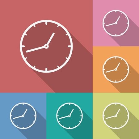 Icon of Clock. Flat style. Long shadow Vector