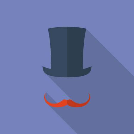 moustaches: Hat and moustaches. Flat style icon