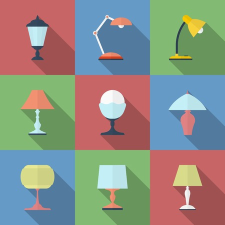 lamp light: Icon set of Lamps. Modern Flat style