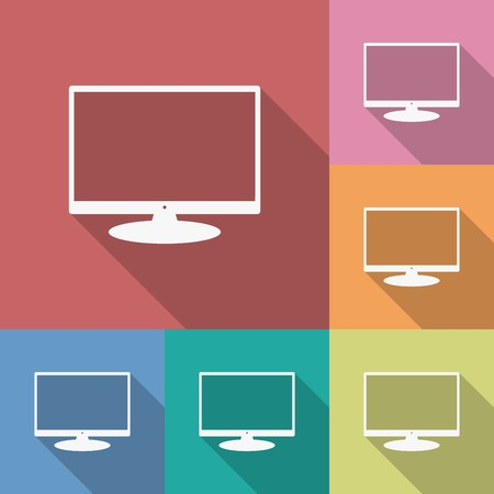 flat screen tv: Icon of Monitor. Flat style. Long shadow Illustration