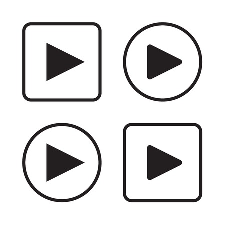 square buttons: Set of play button icons vector illustration eps 10