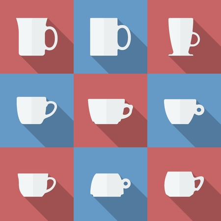 Icon Set of cups. Flat style vector illustration. Vector