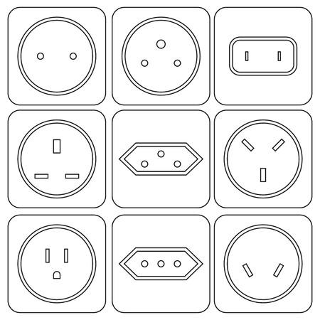 sockets: Icon Set of international electric sockets  vector illustration. Illustration