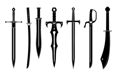 espadas medievales: Icono de conjunto de espadas antiguas. ilustraci�n vectorial.
