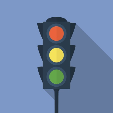 light green: Icon of traffic light. Flat style vector illustration .