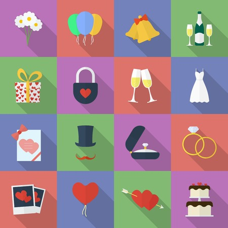 marriage ceremony: Set of wedding icons. Flat style vector illustration .