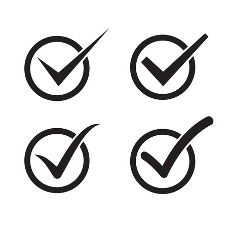 Set of check mark, check box icons Vector