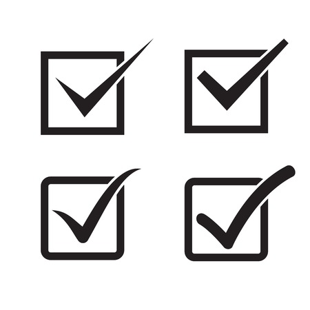 the right choice: Set of check mark, check box icons