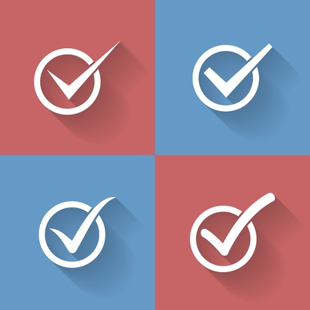 Set of check mark, check box icons Vector