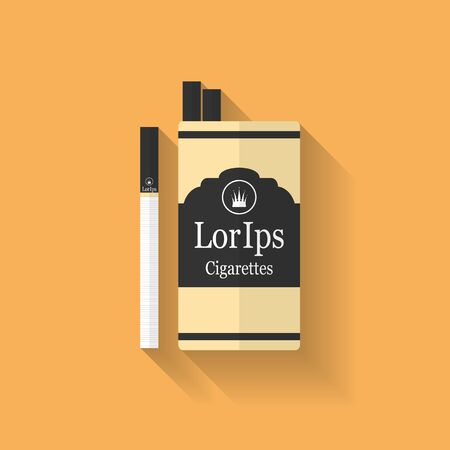 cigarette pack: Icon of cigarette pack. Flat style