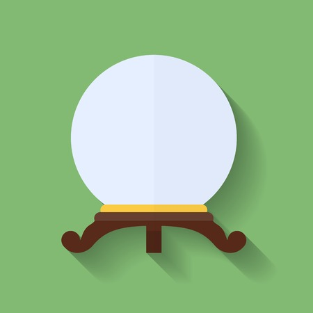 Icon of crystal ball or crystal sphere. Flat style