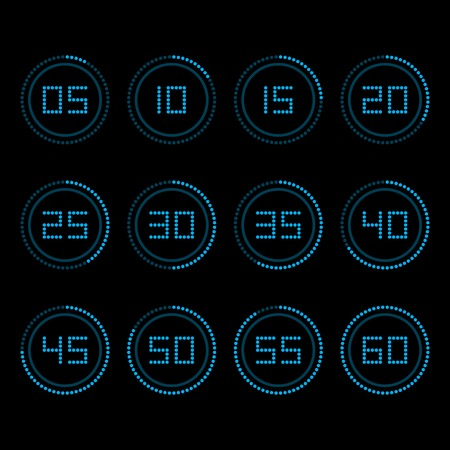 the interval: Digital countdown timer with five minutes interval.