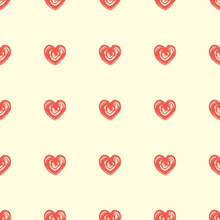 Seamless pattern from hearts. Grunge, hand drawn style Vector