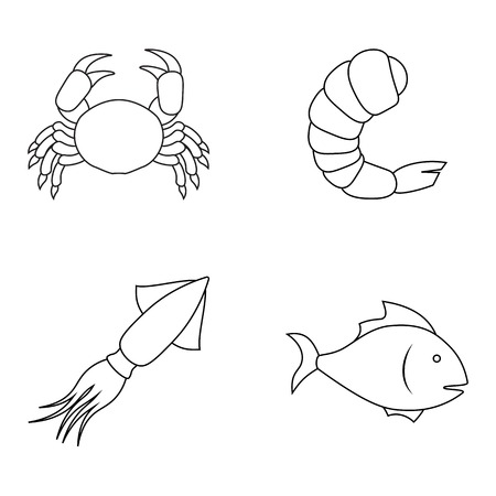cuttlefish: Four seafood icons