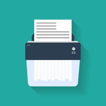 cut paper: Icon of paper Shredder. Flat style