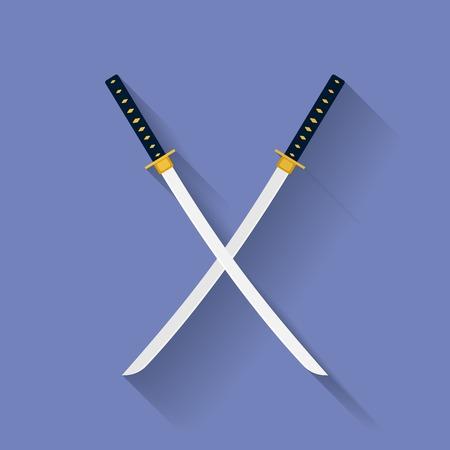 broadsword: Icon of Katana swords. Flat style