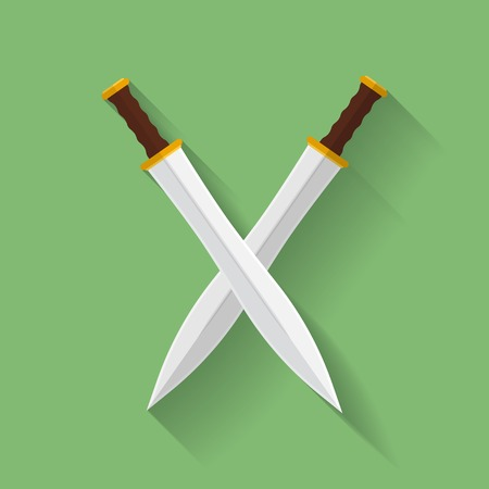 sword: Icon of ancient swords. Flat style
