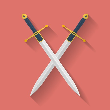 medieval sword: Icon of ancient swords. Flat style