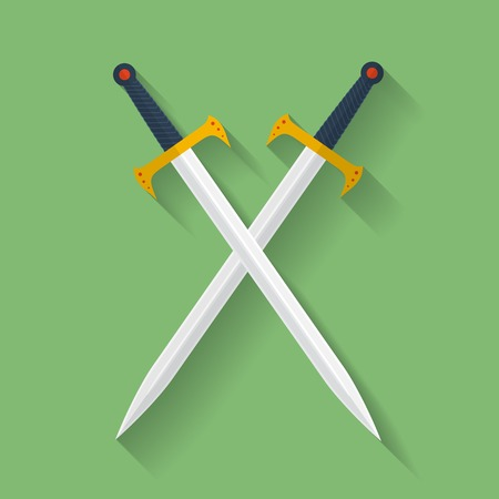 longsword: Icon of ancient swords. Flat style