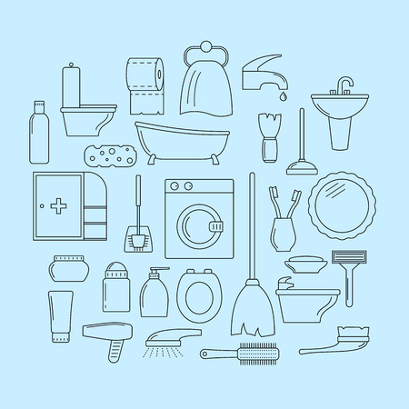 bidet: Set of line icons. Bathroom theme Illustration