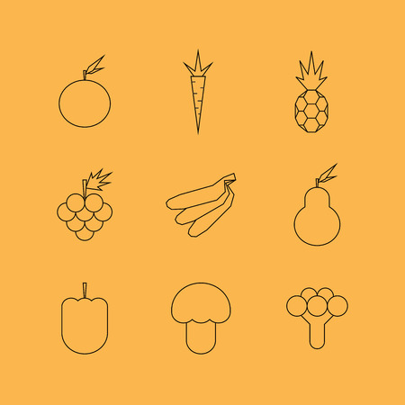 grapes and mushrooms: Fruit and vegetables line icons Illustration