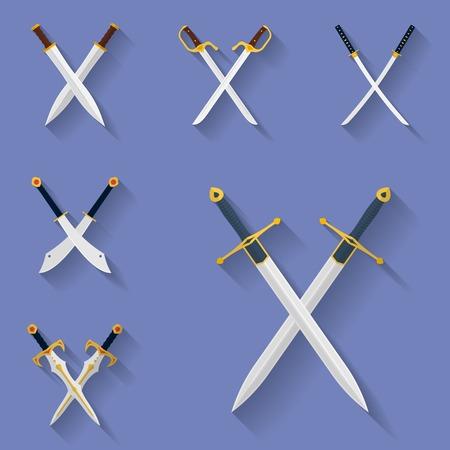 Icon set of ancient swords. Flat style Illustration