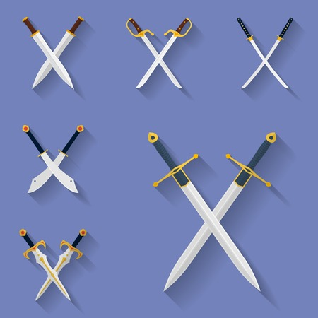Icon set of ancient swords. Flat style Stock Illustratie