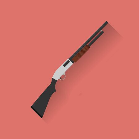 caliber: Icon of police, cop rifle, shot gun. Flat style