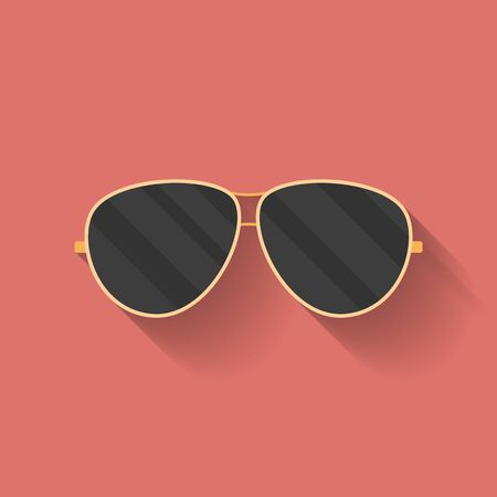 police: Icon of police or cop sunglasses, glasses. Flat style