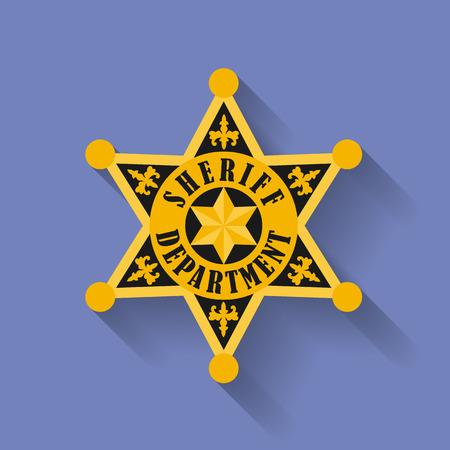 sheriff badge: Icon of Police, Sheriff badge. Flat style