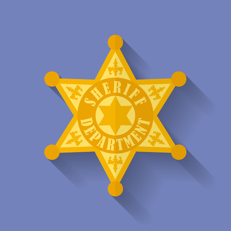 sheriff badge: Icono de la Polic�a, Sheriff insignia. Estilo Flat